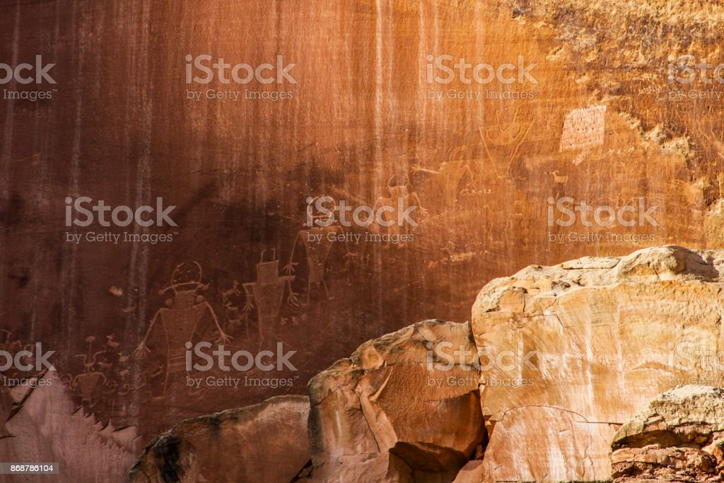 Petroglyphs on a canyon wall in southern utah stock photo