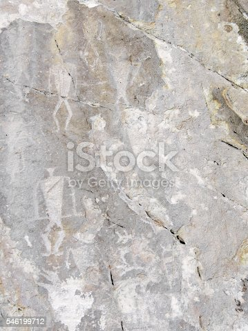 Petroglyphs on Lake Baikal. Cape Sagan-Zaba. Sacred place with drawings. Their age four thousand years. Scenes from the lives of the people of that time. Place of worship shamans.