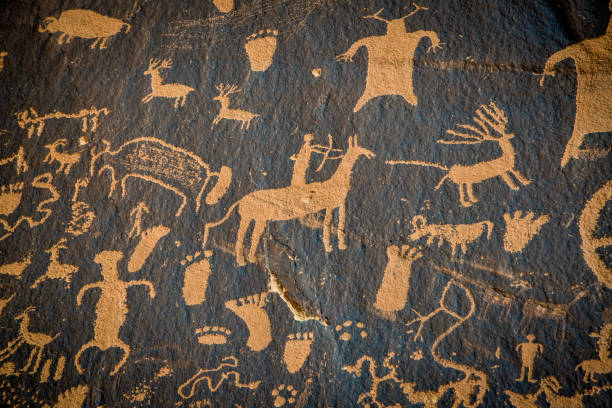 Petroglyphs on newspaper rock in Canyonlands national park, Utah, USA stock photo