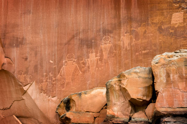 Petroglyphs on rock in Capitol reef national park, Utah, USA stock photo