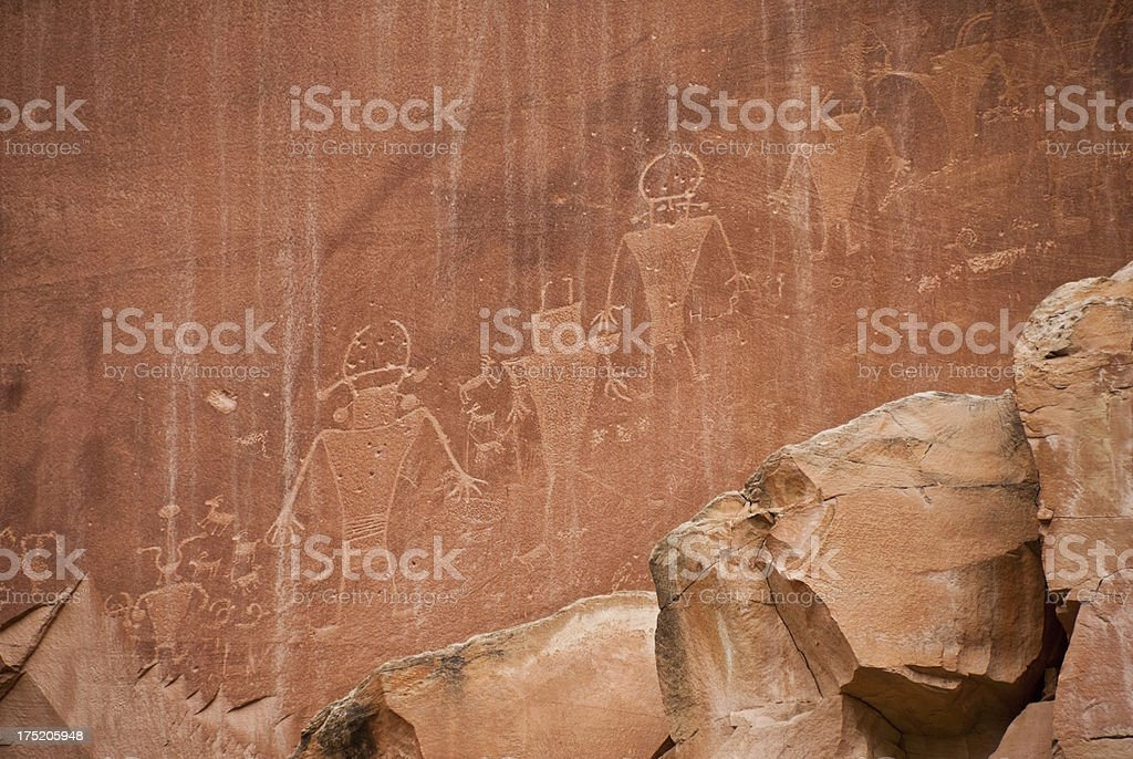 Petroglyphs on the Canyon Wall stock photo