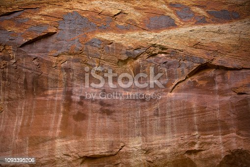 petroglyphs painted and carved on stone