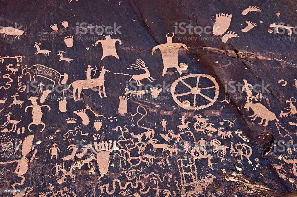 Petroglyths of Newspaper rock, Canyonlands, Utah, USA stock photo