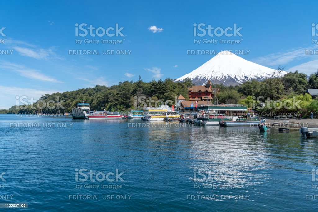 Petrohué River in Chilean Lake District - Puerto Varas, Chile stock photo