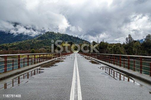 Ralun (or Petrohue) bridge over Petrohue river in Los Lagos Region, southern Chile