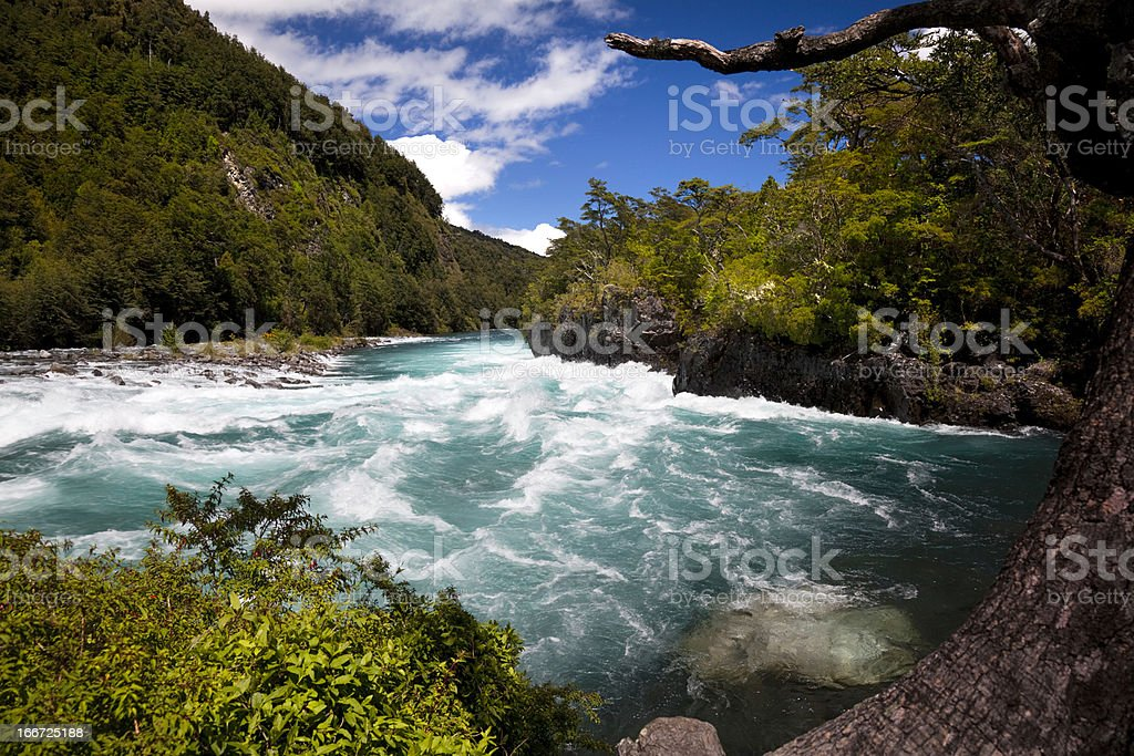 Petrohue river in the Chilean Lake District. stock photo