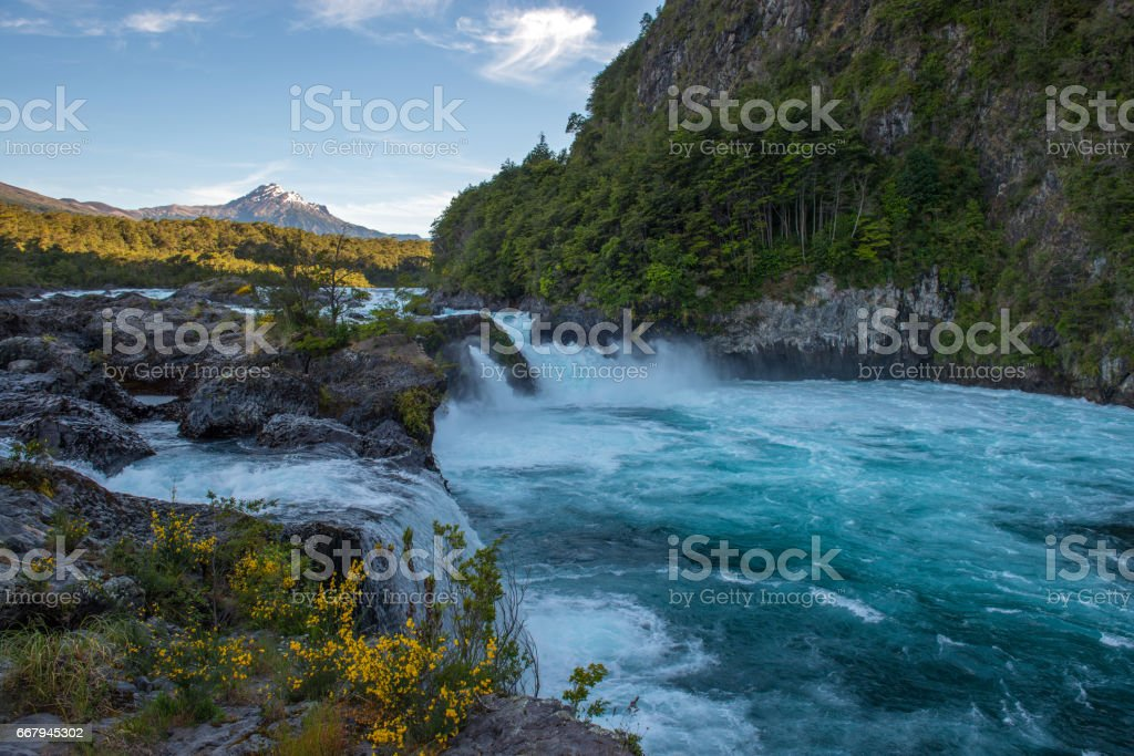 Petrohue Waterfalls in South Chile stock photo