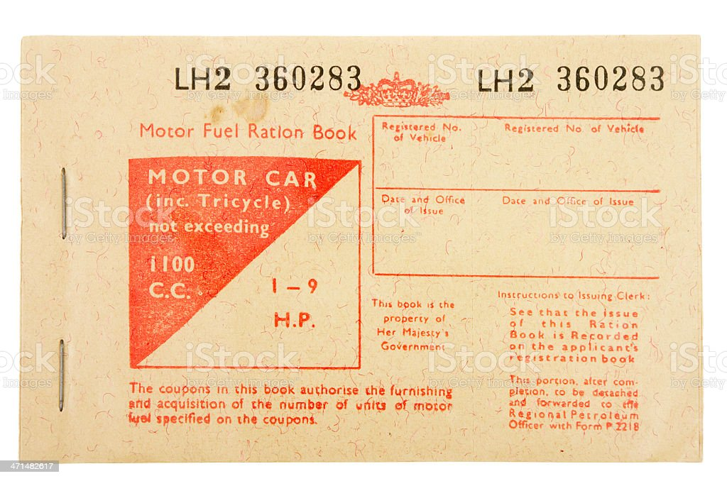 UK Petrol Coupon Issued In 1970s Fuel Crisis stock photo
