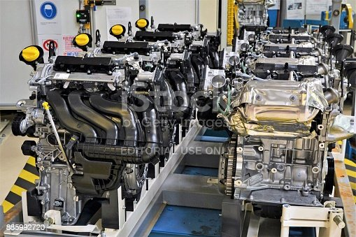 657996382 istock photo Petrol engines production line 885992720