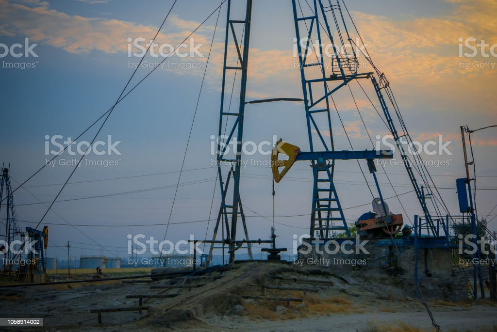 Petrol Extraction Oilfield With Petrol Storage Tanks In The