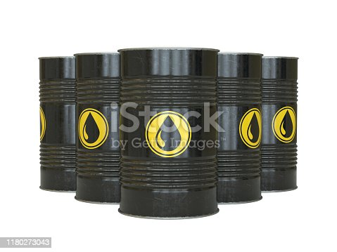 Petrol, oil, fuel, black barrels with oil drop symbol 3d renderin isolated illustration