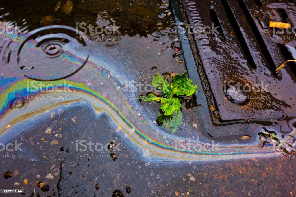 Petrol Oil In Water Running Down the Drain stock photo