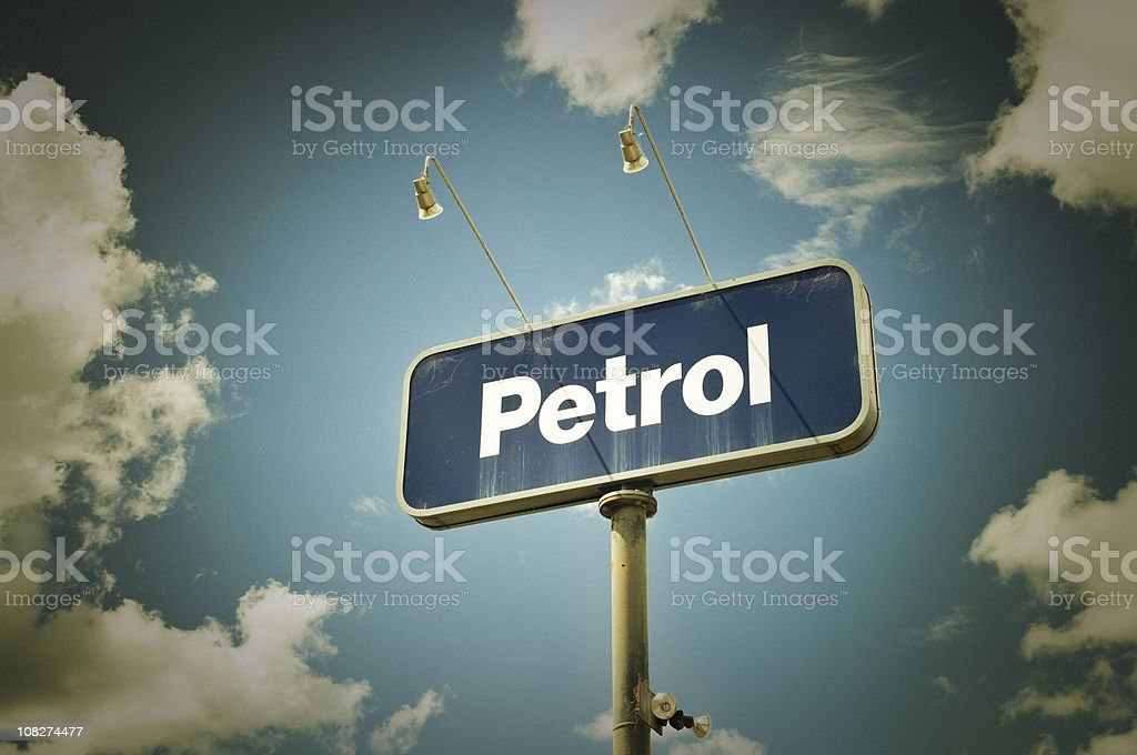 'Petrol' Sign and Sky royalty-free stock photo