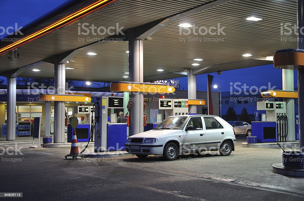 Petrol station at dusk royalty-free stock photo