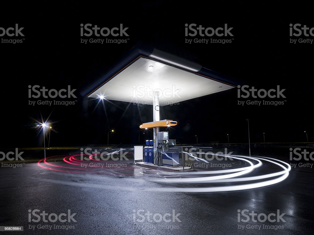 Petrol station at night royalty-free stock photo