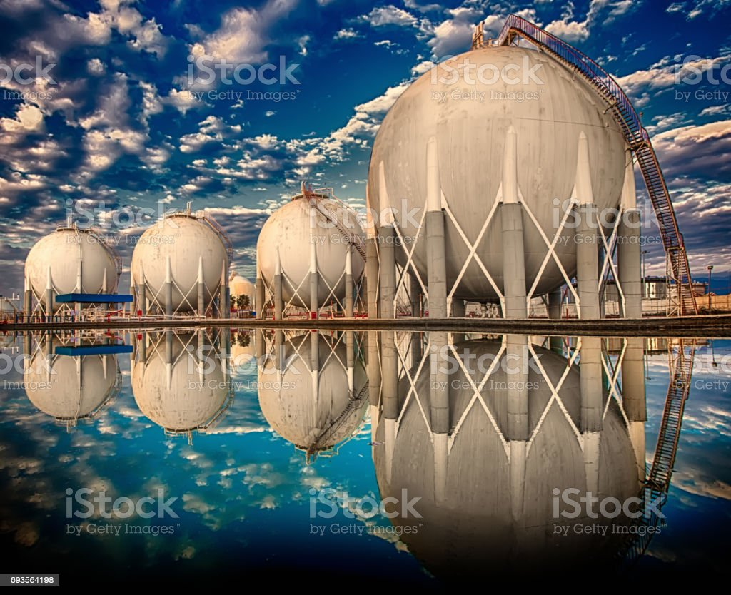 Petroleum area Storage Tanks port stock photo