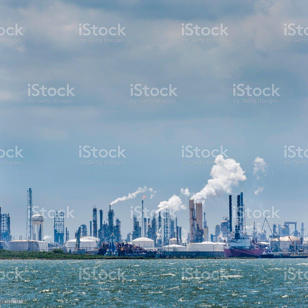 Refinería de petróleo vaselina planta de procesamiento de sustancias químicas, industria de la ciudad de horizonte de Texas foto de stock libre de derechos