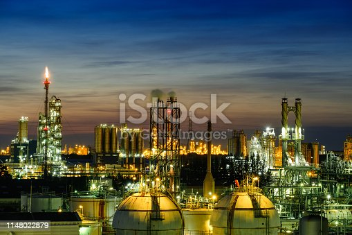 Gas storage sphere tanks in petrochemical industry or oil and gas refinery plant on twilight sky background, Manufacturing of petroleum industrial
