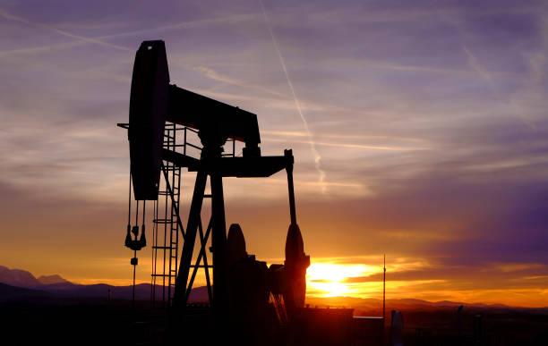 Petroleum Pump against the Sunset, Austria stock photo