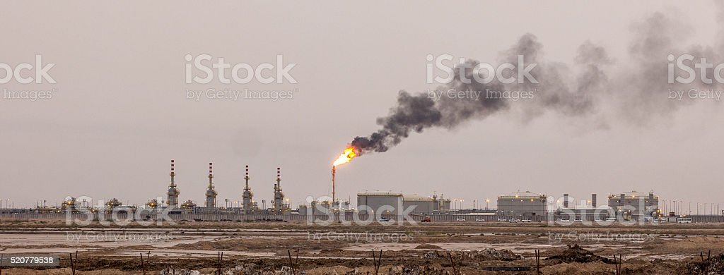 Petroleum refineries in the morning in Iraq stock photo