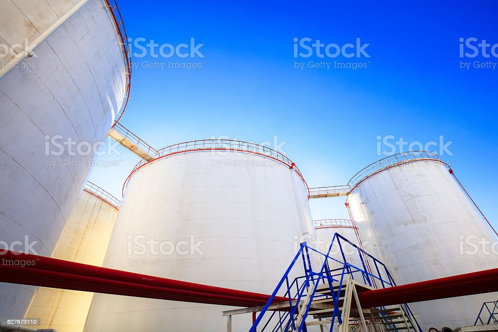 Petroleum storage tank and stairs stock photo