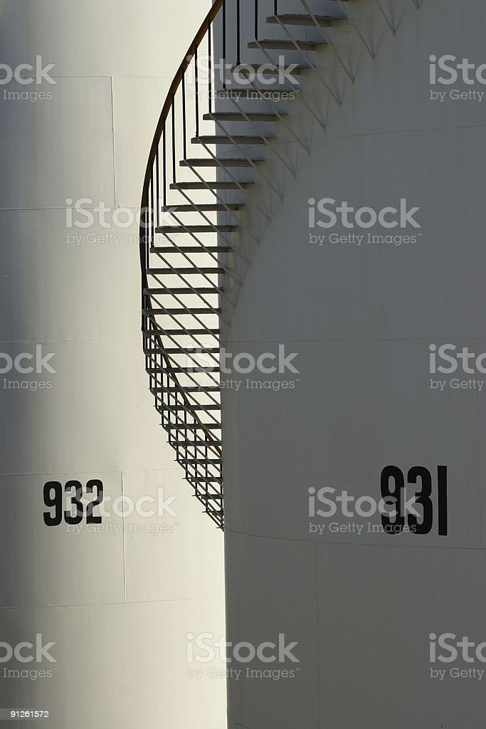 Petroleum storage tanks and stairs royalty-free stock photo