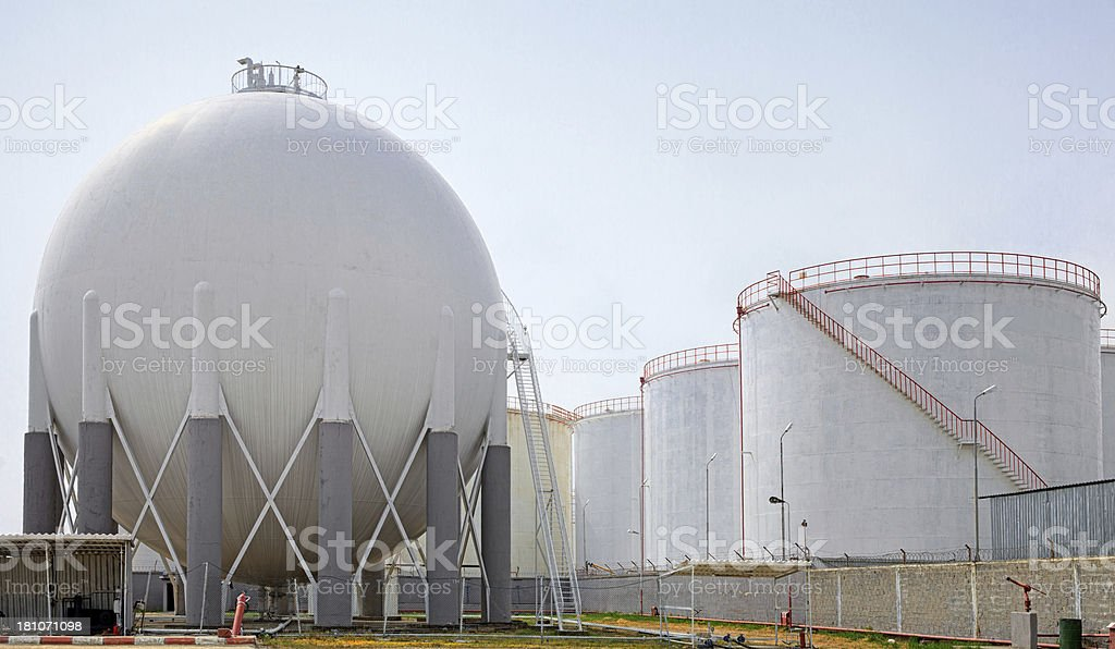 Petroleum Storage Tanks on Petrochemical Plant royalty-free stock photo