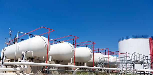 Petroleum Storage Tanks on Petrochemical Plant stock photo