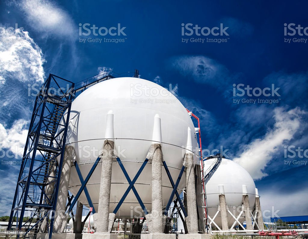 Petroleum Storage Tanks on Petrochemical Plant stock photo