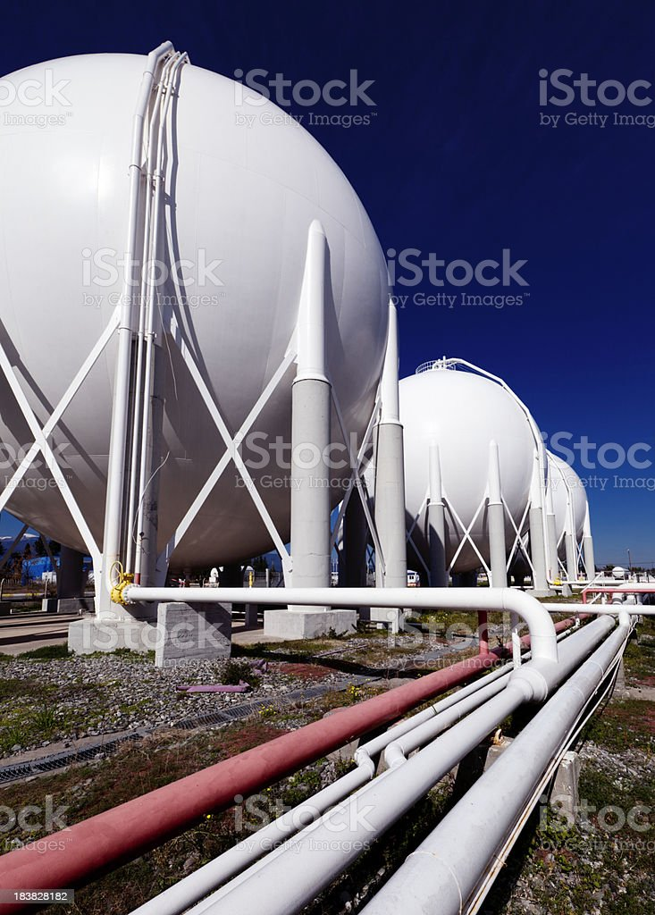 Petroleum tanks and pipelines stock photo