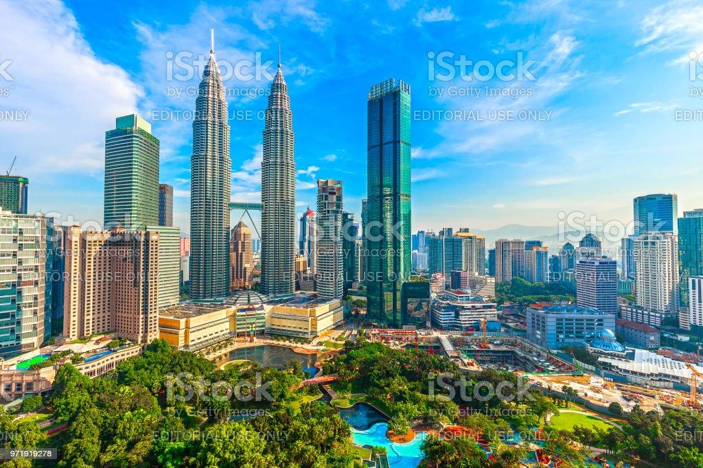 Petronas Towers and KLCC stock photo