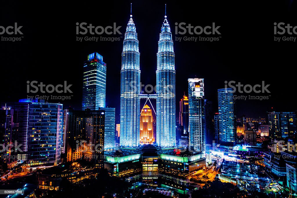 Petronas Towers at night stock photo