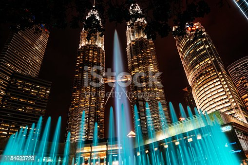 Petronas Twin Towers and fountain