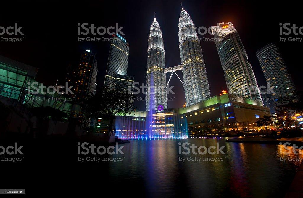 Petronas Twin Towers at Night and Surroundings stock photo