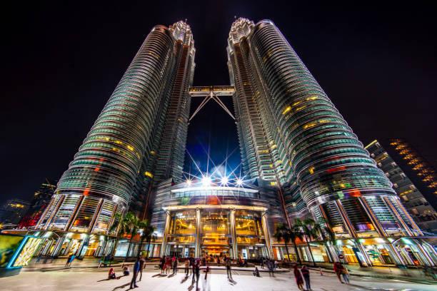 Petronas Twin Towers at Night Kuala Lumpur stock photo