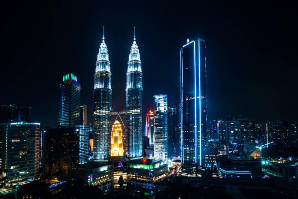 Petronas twin towers, Kuala Lumpur Skyline. stock photo