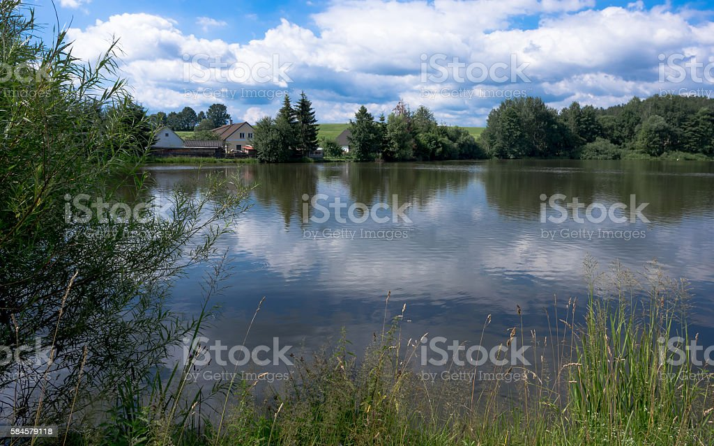 Petrovicky ponds and houses, landscape with reflections stock photo