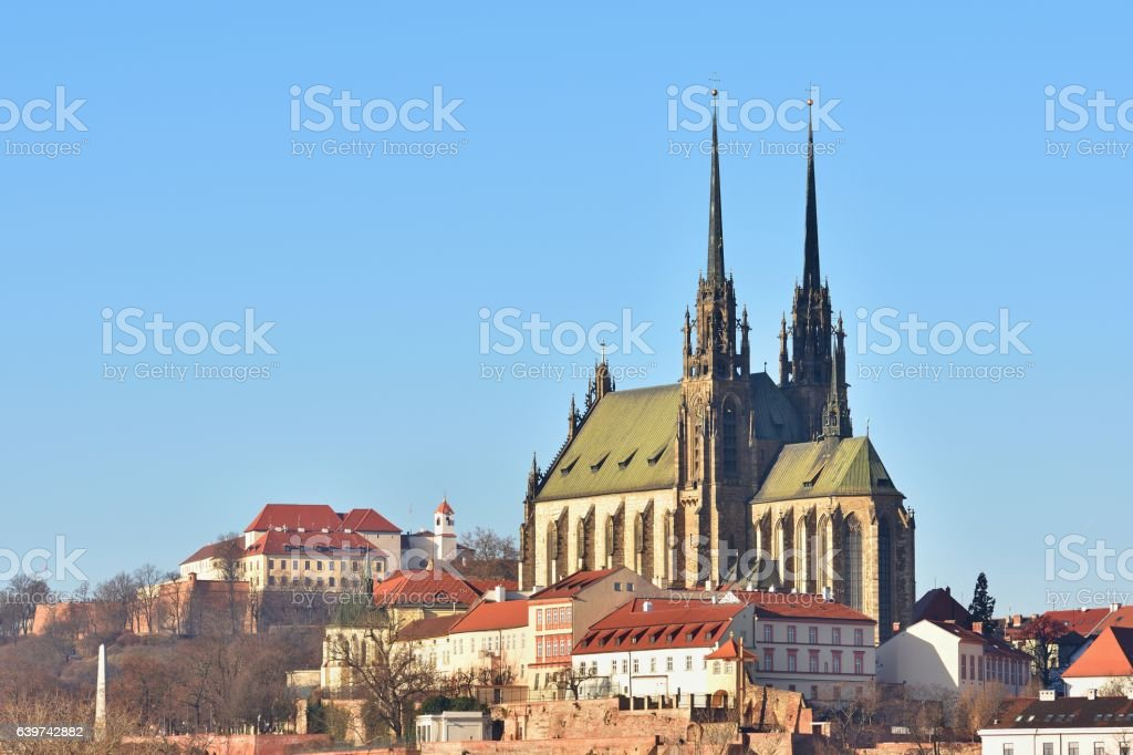 Petrov-St. Peters and Paul church in Brno city.Czech Republic. stock photo