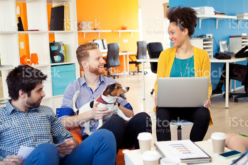 Pets are wellcome at our office stock photo