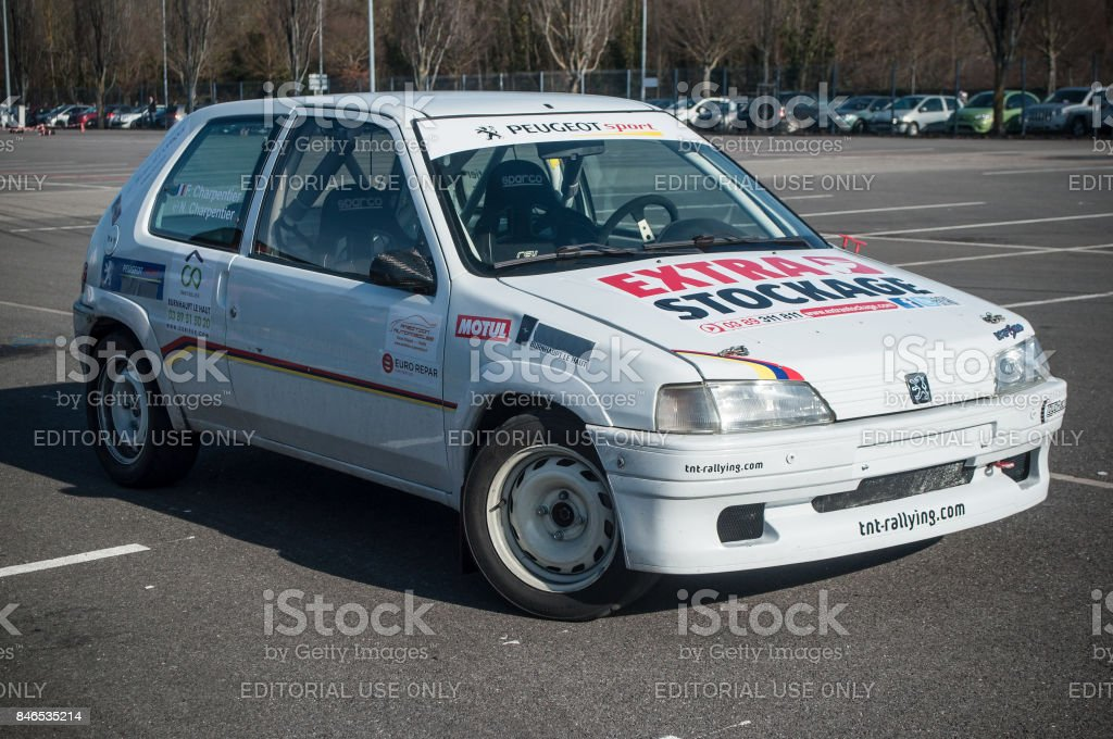 Peugeot 106 rally in wheel party in Mulhouse  expositon stock photo