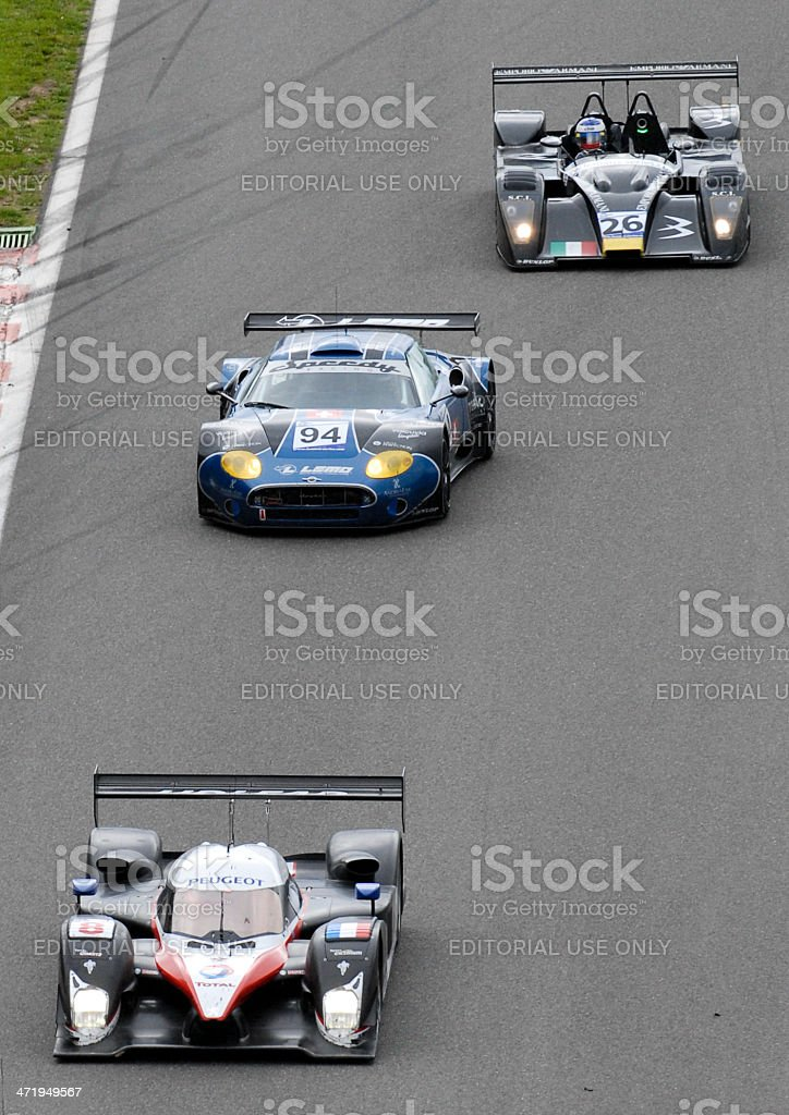 Peugeot 908 HDi FAP race car at the racing track stock photo