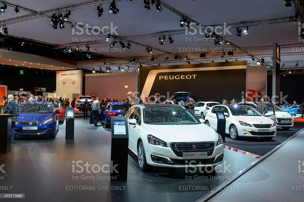 Peugeot Motor Show stand with the 308 in the foreground stock photo