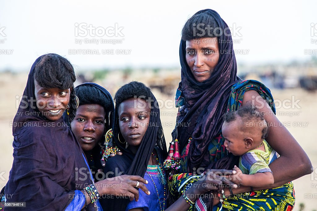 Peul nomad girls watching the Gerewol Festival Sahel Niger stock photo