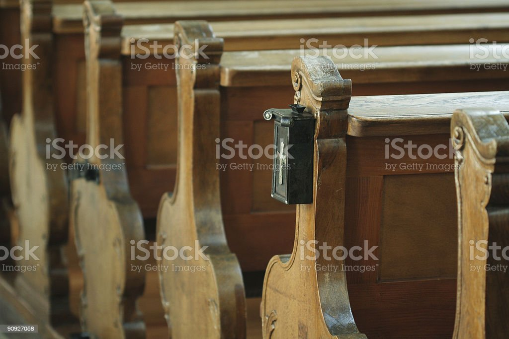 Pews in a church stock photo