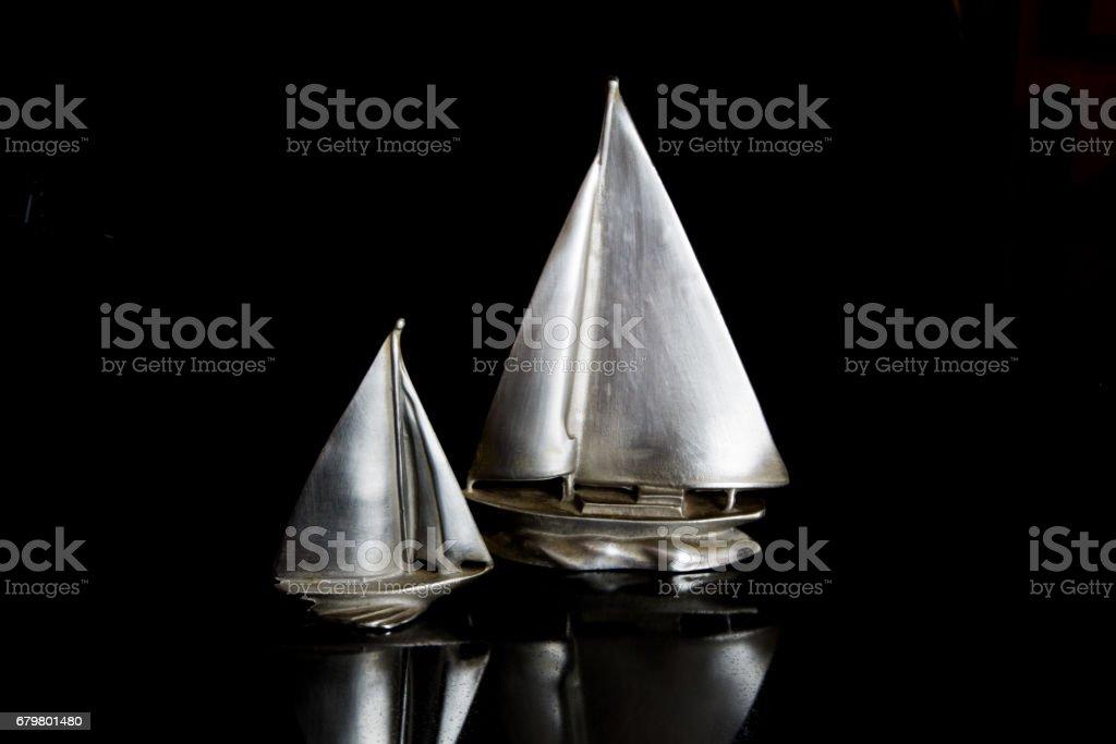 Pewter sailboats. stock photo