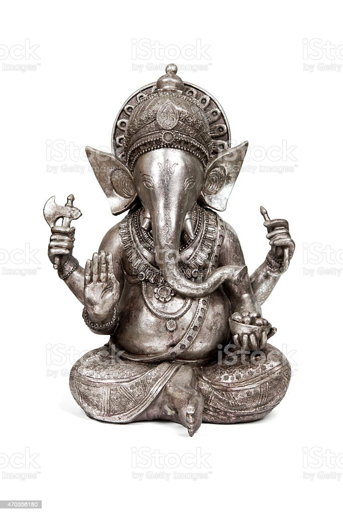 Pewter statue of Indian God of success stock photo