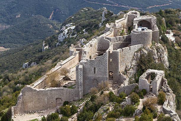 Peyrepertuse Castle aerial view stock photo