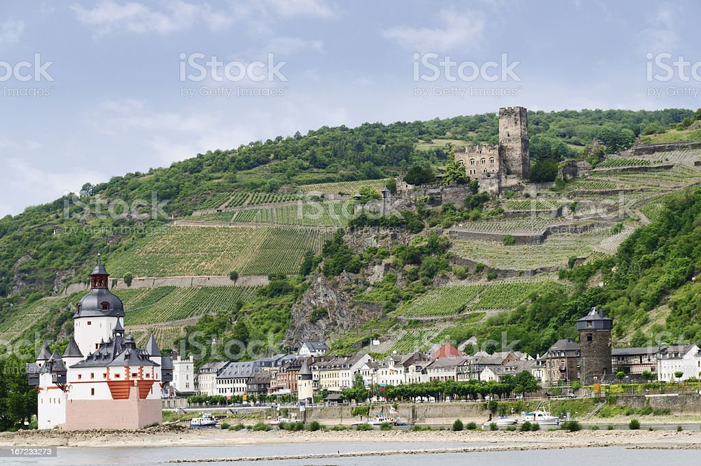 Pfalz Castle (Burg Pfalzgrafenstein) along the Rhine River, Germany stock photo