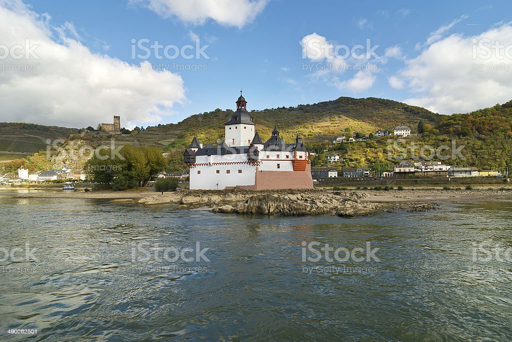 Pfalzgrafenstein Castle on the Rhine River at Kaub, Germany. stock photo