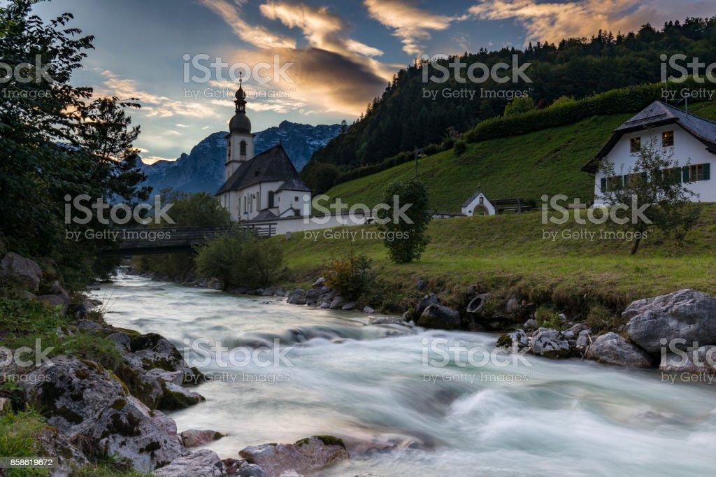 Pfarrkirche St. Sebastian in Ramsau bei Berchtesgaden stock photo